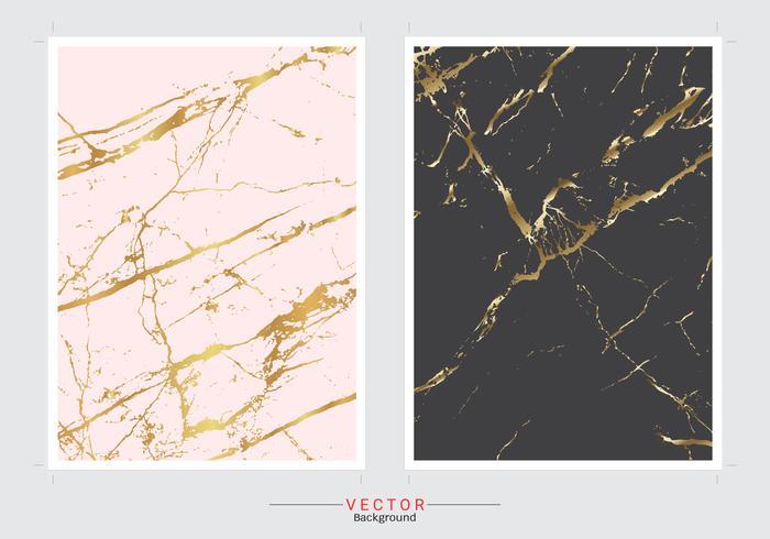Insieme di vettore del fondo della copertura di imitazione del marmo dell'oro.