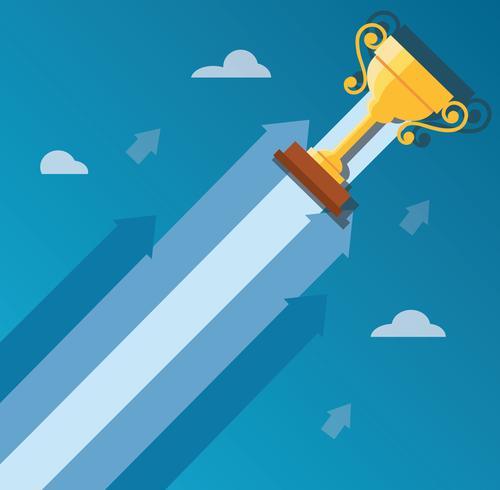 Il trofeo sull'icona della freccia, inizia sull'illustrazione di concetto di affari vettore