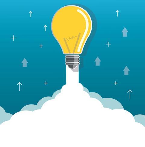 lampadina su illustrazione di concetto di avvio di cloud vettore