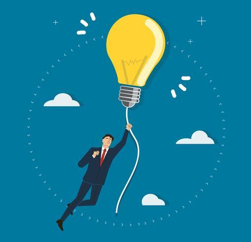 uomo d'affari che tiene una lampadina che vola nel cielo, concetti creativi vettore