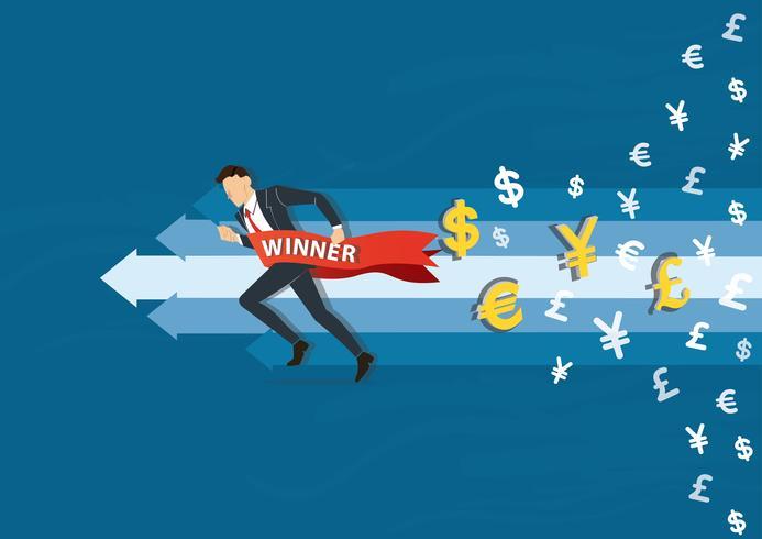 uomo d'affari che corre al successo con un'insegna del vincitore, illustrazione di vettore di concetto di affari
