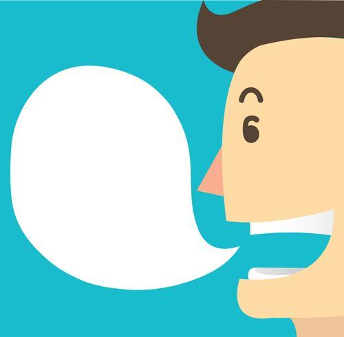 vettore del fumetto della conversazione e di chiacchierata del fumetto dell'uomo