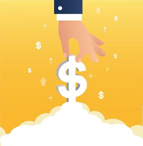 l'icona del dollaro della holding della mano sopra potrebbe, illustrazione di concetto di affari vettore