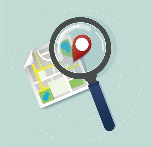la lente d'ingrandimento e l'icona posizione pin e il vettore della mappa, il concetto di viaggio