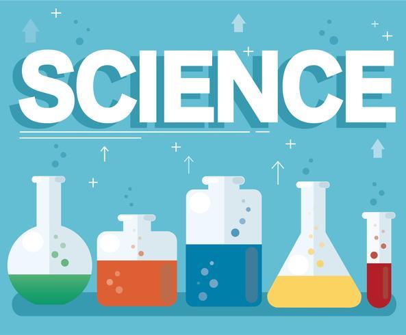 testo scientifico e colorato laboratorio riempito con un liquido chiaro e sfondo blu vettore