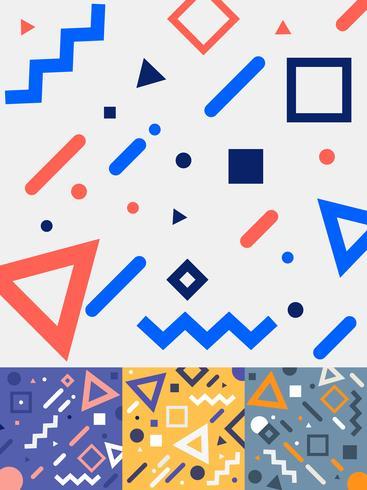 Set di carte stile memphis moda geometrica alla moda design in coloratissimi toni di sfondo. Collezione di modelli di moda anni 80-90. È possibile utilizzare per la progettazione di copertine, pubblicità, poster, libri, biglietti di auguri. vettore