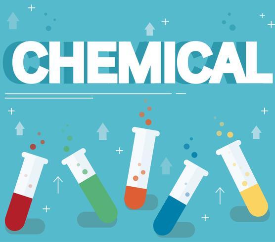 testo chimico e colorato laboratorio riempito con un liquido chiaro e sfondo blu vettore