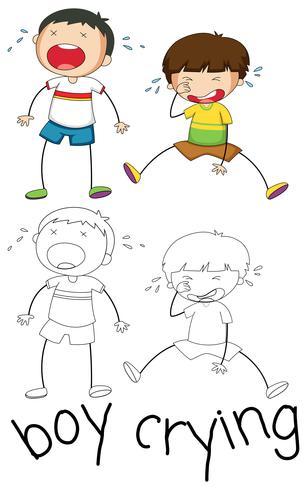 Doodle grafica del ragazzo che piange vettore