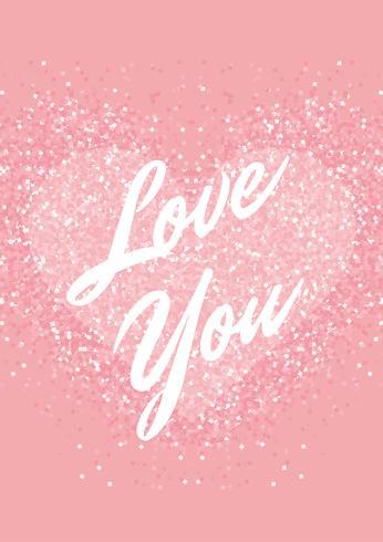 Biglietto di auguri con cuore glitter rosa pastello e testo. Shimmer ama lo sfondo. vettore