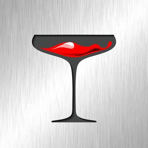 Sangue rosso in vetro con fondo in acciaio inox. vettore