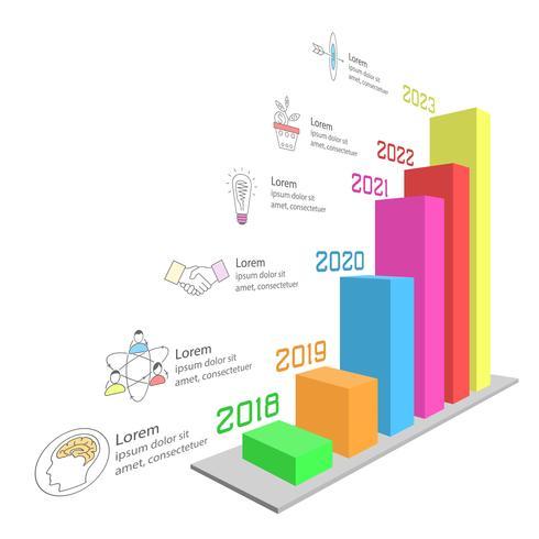 Infographic di affari sulla barra tridimensionale del grafico. vettore