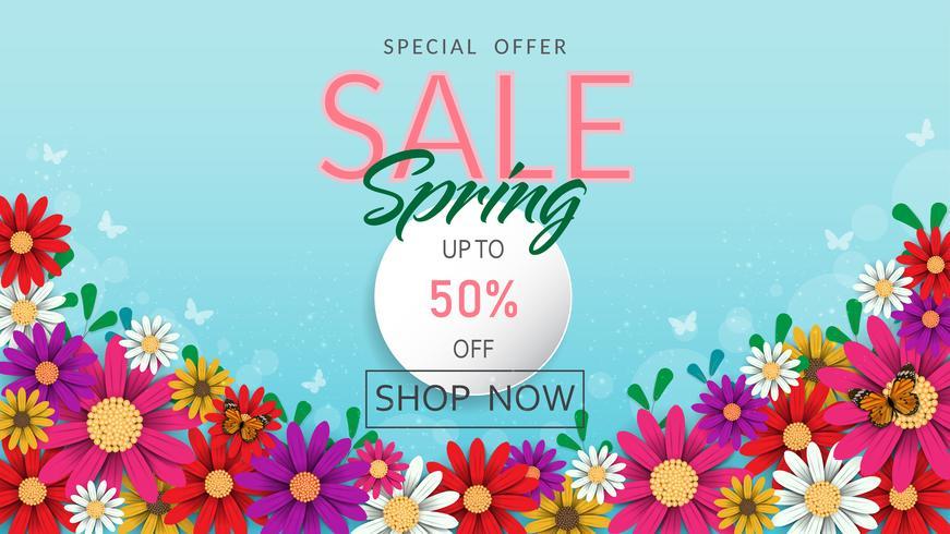 Il tempo di primavera fiorisce l'insegna e il fondo di vendita. vettore