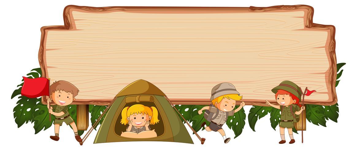 Camping bambini su banner in legno vettore