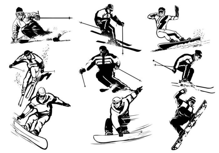 Pacchetto di sport invernali vettore