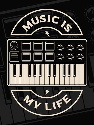 Illustrazione vettoriale della tastiera midi sullo sfondo scuro