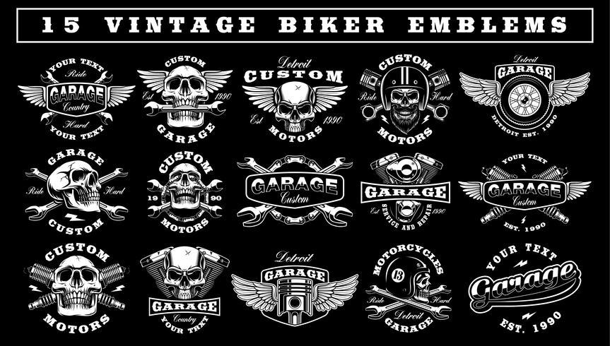Set di emblemi del motociclista d'epoca vettore