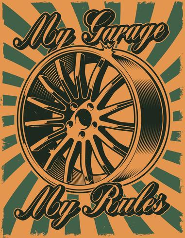 Poster vintage con disco per auto vettore