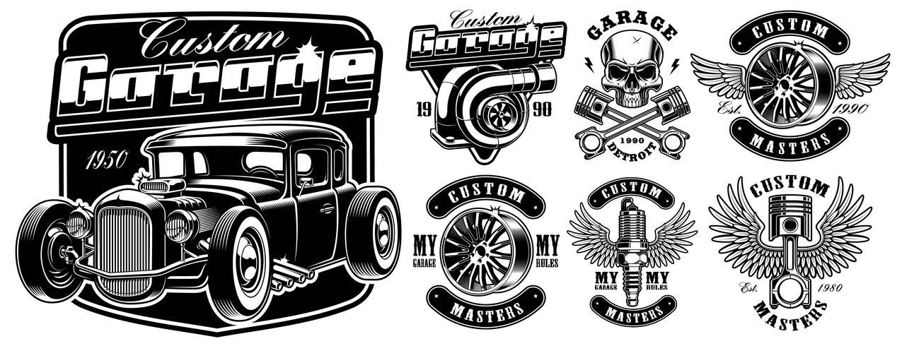 Distintivi di servizio dell'automobile. vettore