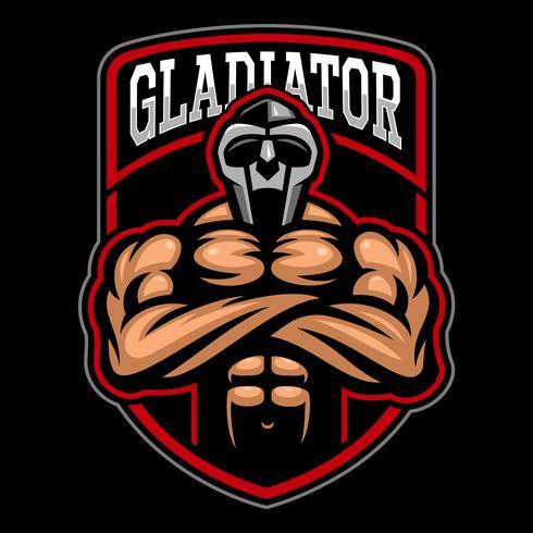 Disegno del logo del gladiatore. vettore