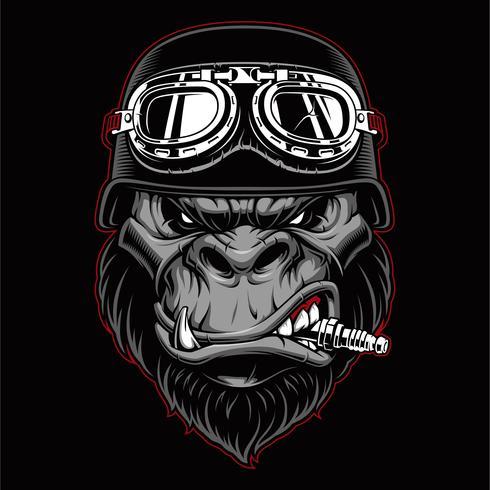 Mascotte del motociclista Gorilla. vettore
