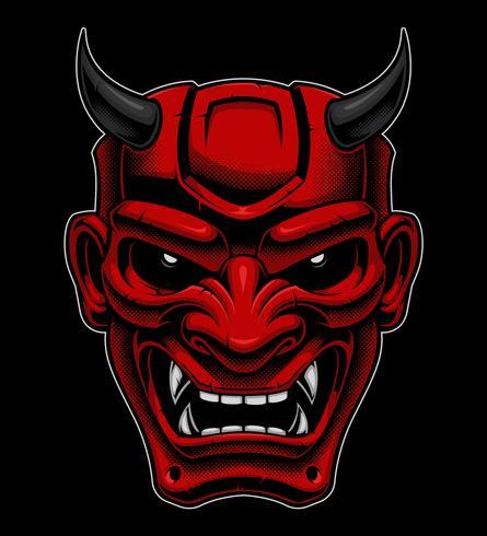 Maschera demoniaca giapponese vettore