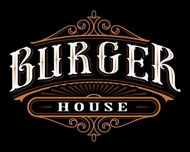 Etichetta vintage di hamburger. vettore
