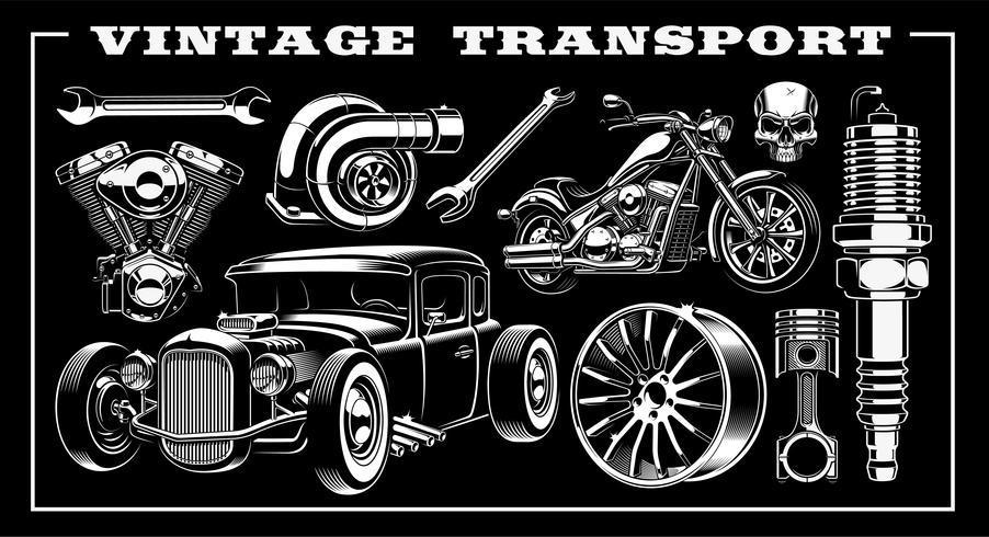 Set di trasporto vintage vettore