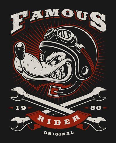 Illustrazione del motociclista del lupo vettore