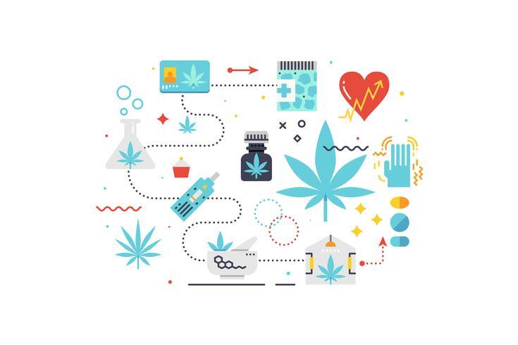 Illustrazione di concetto di cannabis medica vettore
