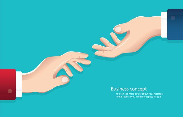Stringere la mano. Uomini d'affari che agitano le mani su uno sfondo di skyline. Affari di concetto vettore