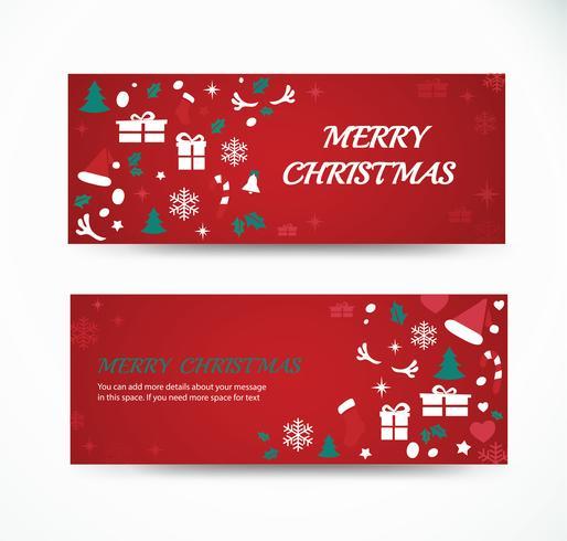 impostare il biglietto di auguri di Natale con disegni di banner sfondo modello spazio vettore