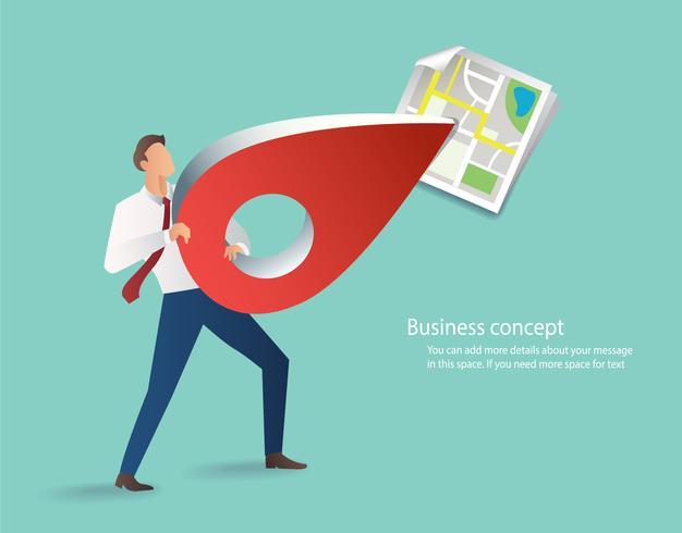 icona del perno della holding dell'uomo d'affari, icona rossa di posizione con le illustrazioni di vettore della mappa