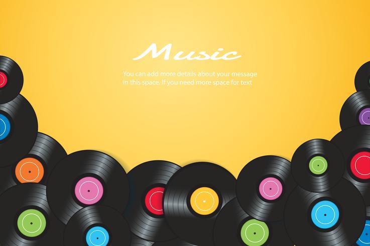 dischi in vinile colorato con sfondo giallo illustrazione vettoriale