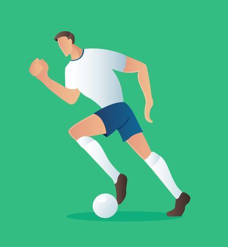 Giocatore di azione di calcio, illustrazione di vettore del giocatore di football americano