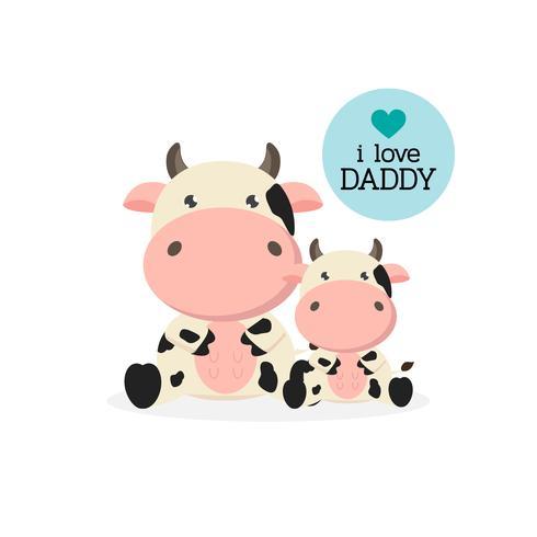 Happy Father's Day card con simpatici personaggi di mucca. vettore
