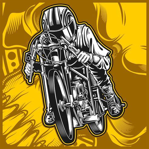 disegno a mano di vettore di moto da corsa