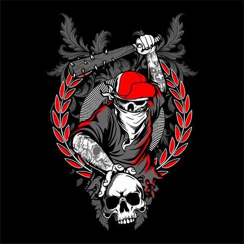 Il cranio del bandito in mani del cappuccio e dello scheletro dei pantaloni a vita bassa che tengono le mazze da baseball attraversate ha isolato l'illustrazione di vettore -
