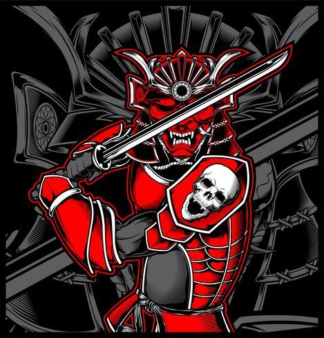 Illustrazione giapponese del cranio del samurai vettore