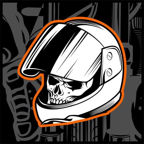 vettore del disegno della mano del casco del cranio