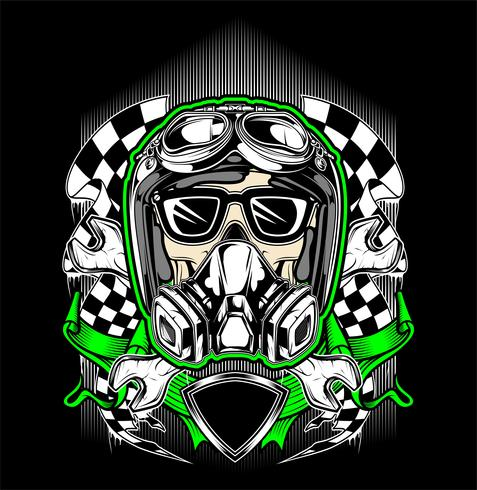 casco cranio racing con maschera antigas-vettoriale vettore