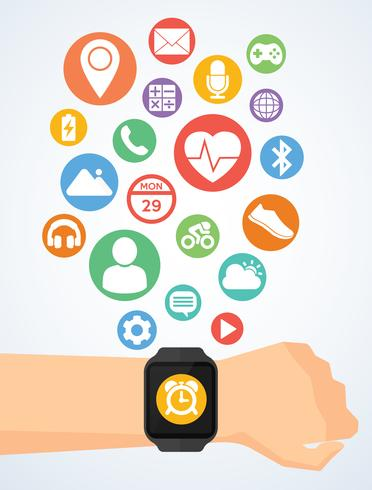 Mano con smartwatch e icone delle applicazioni su smartwatch vettore