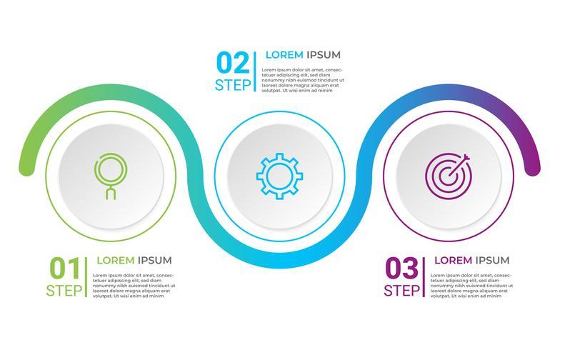 Modello di business infografica con 3 opzioni. vettore