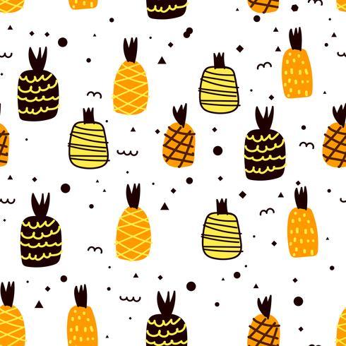 Modello senza cuciture con fondo di ananas. Illustrazioni vettoriali per la confezione regalo.