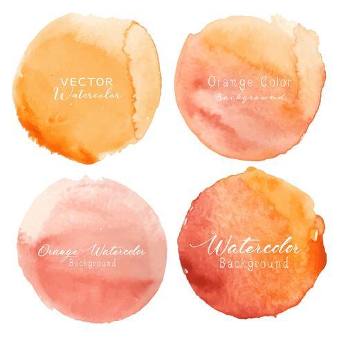 Il cerchio arancione dell'acquerello ha impostato su priorità bassa bianca. Illustrazione vettoriale