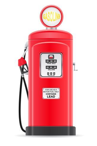 benzina rossa che riempie la vecchia retro illustrazione di vettore
