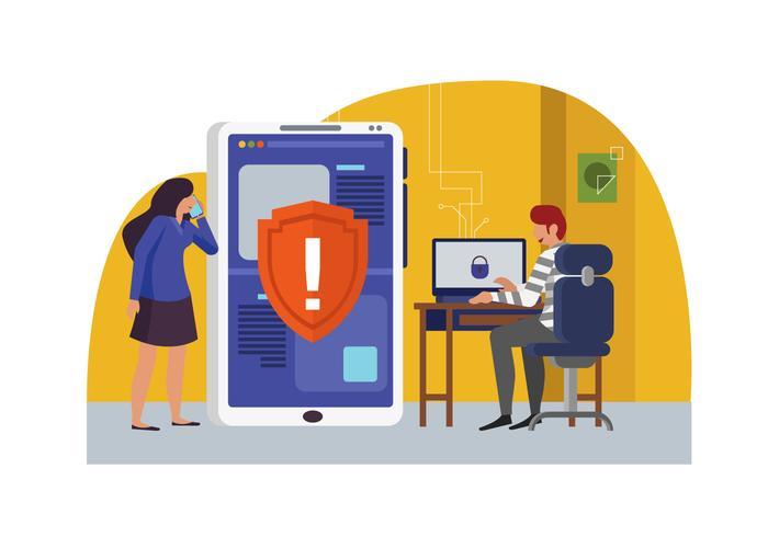 Illustrazione piana di vettore di protezione di Cyber di dati
