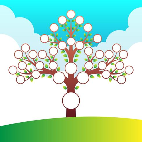 Modello di albero genealogico con posto per ritratti ed elementi di testo vettore