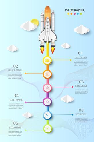 Modello di business design 6 opzioni o passaggi elemento grafico infografica. vettore