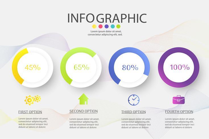 Modello di business design 4 opzioni o passaggi elemento grafico infografica. vettore