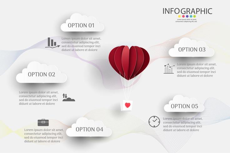 Modello di business design 5 opzioni o passaggi elemento grafico infografica vettore